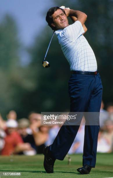 Seve Ballesteros of Spain drives off the tee during the Suntory World Match Play Championship golf tournament on 26th September 1985 at the Wentworth...