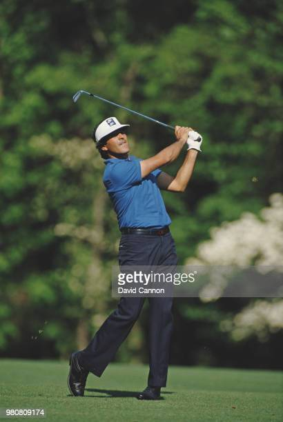 Seve Ballesteros of Spain hits a shot from the fairway on 13 April 1986 during the US Masters Golf Tournament at the Augusta National Golf Club in...
