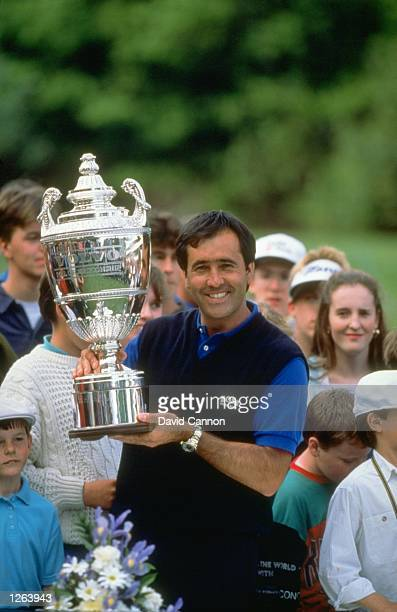 Seve Ballesteros of Spain holds the trophy after winning the Volvo PGA Championship at Wentworth Golf Club in Surrey England Mandatory Credit David...