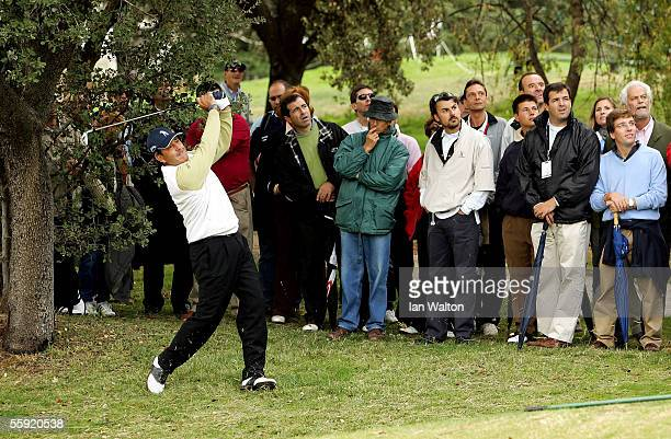 Seve Ballesteros of Spain in action on the 4th hole during Round Two of the PGA Open de Madrid at the Club de Campo on October 14, 2005 in Madrid,...