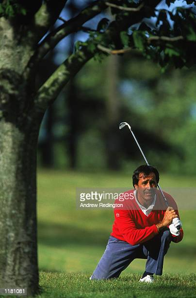 Seve Ballesteros of Spain plays his second shot to the 18th from under a tree during the Murphys Irish Open at Druid's Glen Golf Club in Dublin...