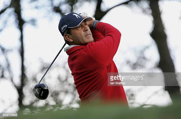Seve Ballesteros of Spain tee's off on the 13th hole during Round One of the PGA Open de Madrid at the Club de Campo on October 13 2005 in Madrid...