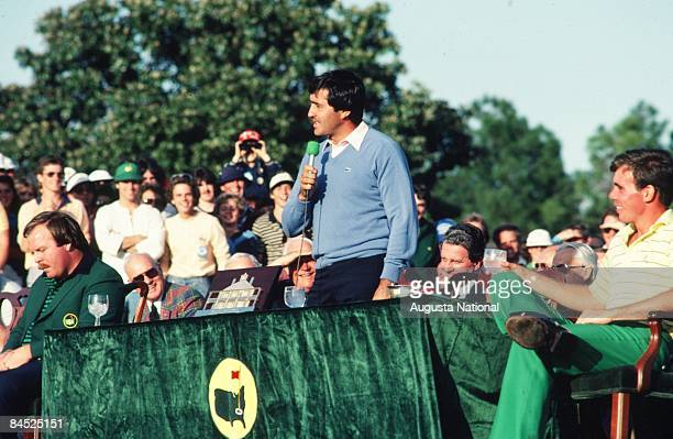 Seve Ballesteros speaks at the Presentation Ceremony with runnerup Craig Stadler and Low Amateur James O Hallet during the 1983 Masters Tournament at...