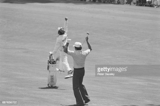 Seve Ballesteros with his caddy at 1980 US Masters at Augusta National golf club Georgia USA