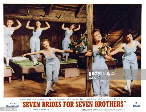 Seven Brides For Seven Brothers US lobbycard front from left Norma Doggett Virginia Gibson Julie Newmar rear from left Nacy Kilgas Betty Carr Ruta...