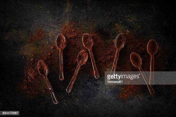 Seven chocolate spoons sprinkled with cocoa