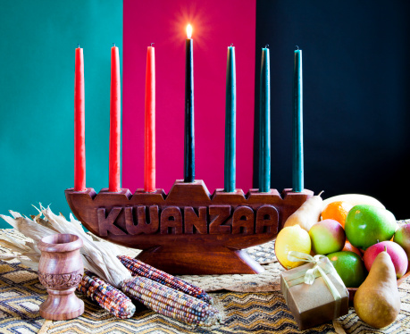 Seven colorful candles in celebration of Kwanzaa 153785388