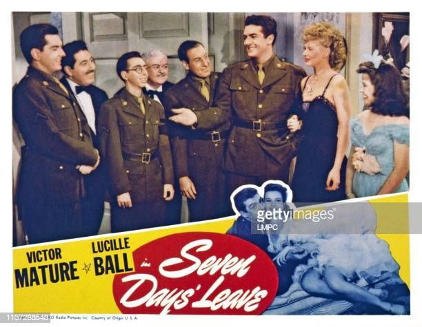 Seven Days' Leave US lobbycard front from left Peter Lind Hayes Hal Peary Arnold Stang Buddy Clark Victor Mature Lucille Ball Marcy McGuire 1942