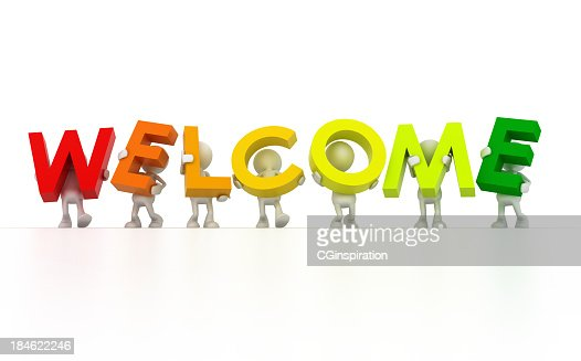 Cartoon Characters 7 Letters : Seven different cartoon characters holding welcome letters