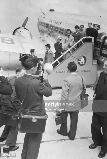 Seven fashion models catch an Air France plane to Scotland to take part in two Christian Dior fashion balls 21st May 1955 The shows at Glasgow and...