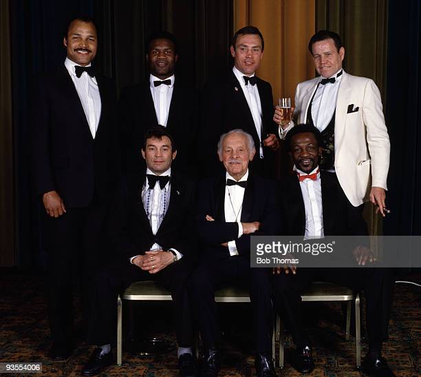 Seven former World Boxing Champions all of them British gathered for a dinner in London circa 1990 Back row John Conteh Dennis Andries Alan Minter...