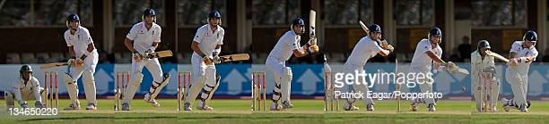 Seven frame sequence of Kevin Pietersen's left handed switch-hit which went for four off Paul Harris, England v South Africa, 3rd Test, Edgbaston,...