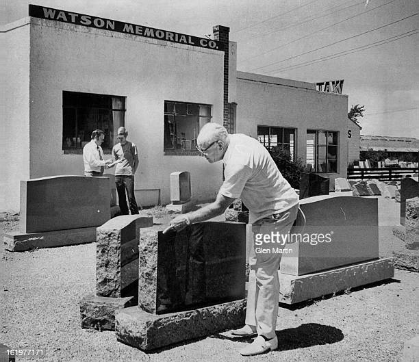 AUG 8 1980 Seven Generations of Watsons Have Made Monuments Clyde Watson points out fine finish on granite memorial monument at Watson Memorial Co...