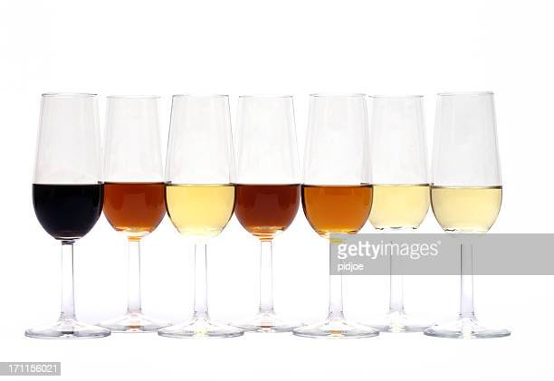 seven glasses of different sherry