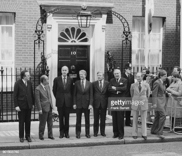 Seven international leaders outside 10 Downing Street in London after the first session of the Downing Street Summit Conference 7th May 1977 From...