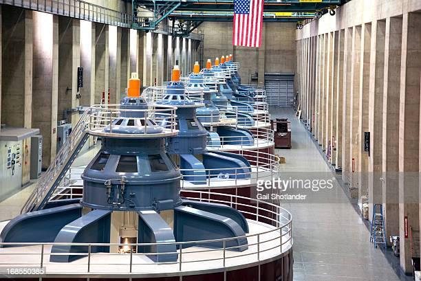 CONTENT] Seven large generators at Hoover Dam Las Vegas Nevada The generators produce very large volumns of electricity
