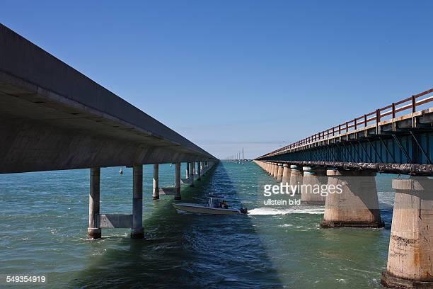 Seven Mile Bridge near Marathon as part of the Overseas Highway across the Florida Keys Florida USA