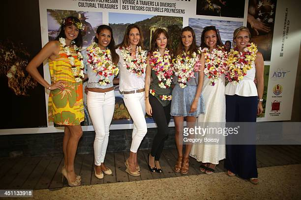 Seven Miss France Mehiata Riaria Chloe Mortaud Mareva Georges Mareva Galanter Alexandra Rosenfeld Marine Lorphelin and Sylvie Tellier pose during the...
