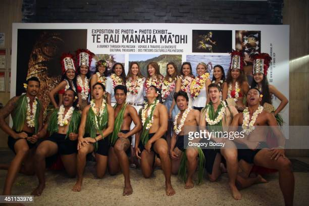 Seven Miss France Mehiata Riaria Chloe Mortaud Mareva Georges Mareva Galanter Alexandra Rosenfeld and Marine Lorphelin pose during the Tahiti...