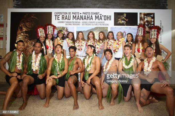 Seven Miss France: Mehiata Riaria, Chloe Mortaud, Mareva Georges, Mareva Galanter, Alexandra Rosenfeld and Marine Lorphelin pose during the Tahiti...
