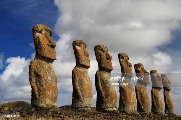 seven moai statues standing in row, easter island, valparaso, chile - easter island stock pictures, royalty-free photos & images