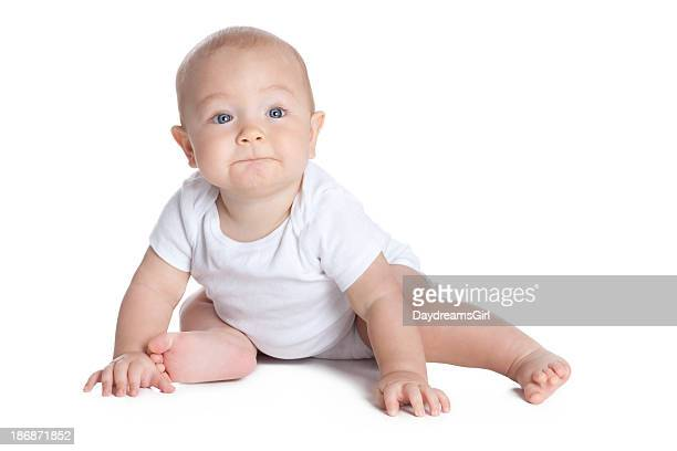 Seven Month Old Baby on White Background