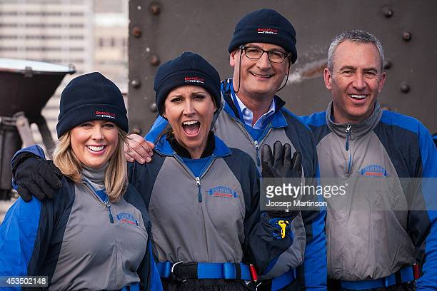 Seven Network Sunrise team Mark Beretta David Koch Natalie Barr and Samantha Armytage pose for a photograph during the Melbourne Cup Carnival Launch...