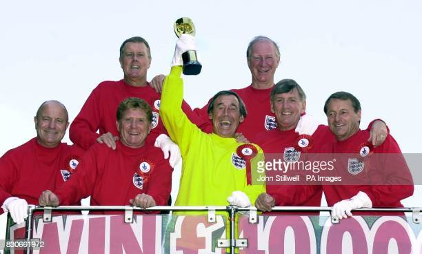 Seven of England's victorious 1966 World Cup winning team George Cohen Sir Geoff Hurst Alan Ball Gordon Banks Jack Charlton Martin Peters and Roger...