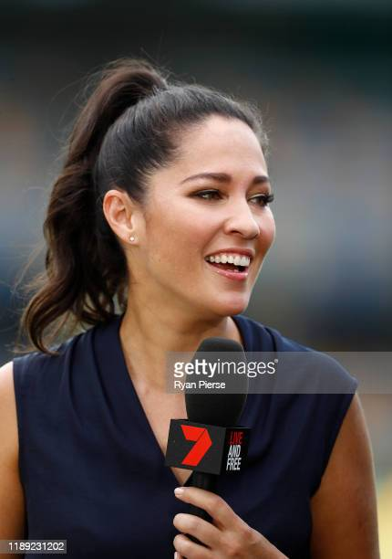 Seven presenter Mel McLaughlin during day two of the 1st Domain Test between Australia and Pakistan at The Gabba on November 22, 2019 in Brisbane,...