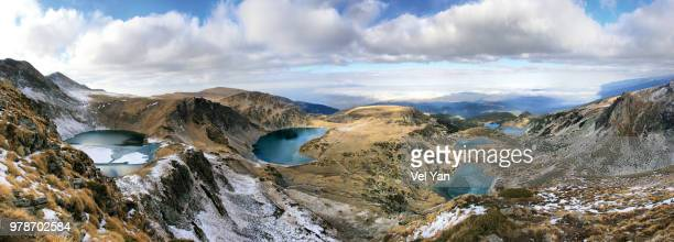 Seven Rila Lakes in Rila Mountains under cloudy sky, Sapareva Banya, Kyustendil Province, Bulgaria