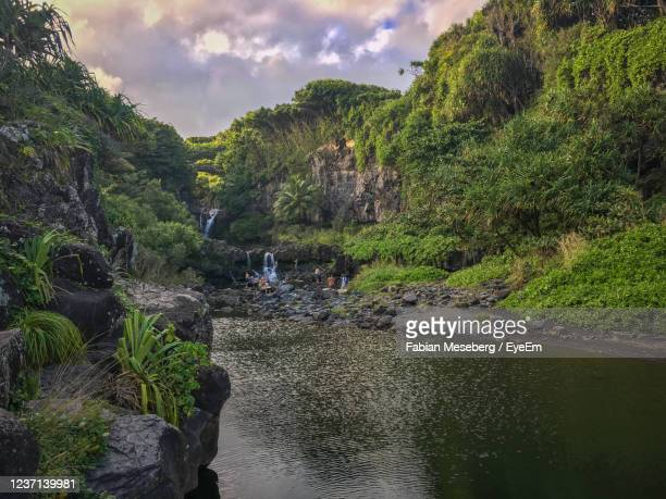 seven sacred pools at oheo gulch on the hawaiian island of maui, usa against sky - hannah brooks stock pictures, royalty-free photos & images