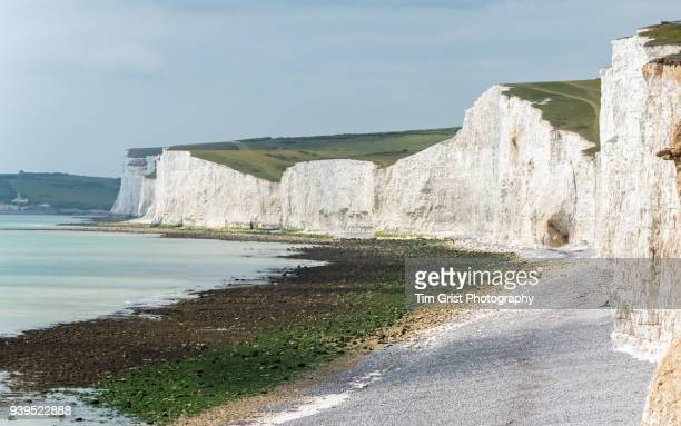 seven sisters chalk cliffs - seven sisters cliffs stock photos and pictures