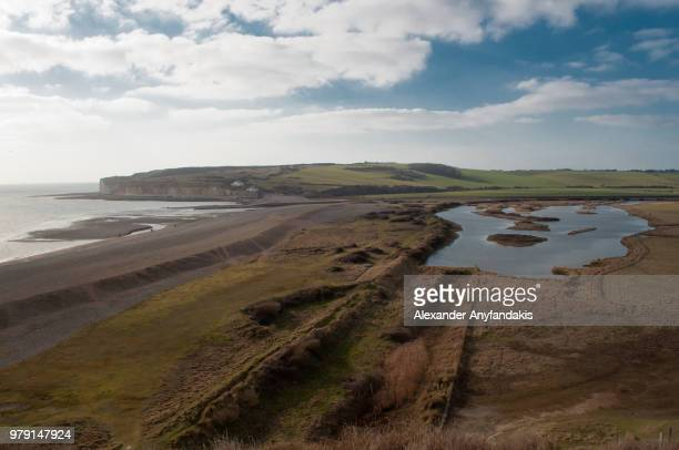 Seven Sisters cliffs and Cuckmere river at daytime, Sussex, England, UK