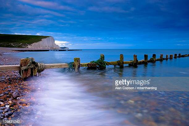 Seven Sisters Cliffs from Cuckmere Haven Beach, South Downs, East Sussex, England, United Kingdom, Europe