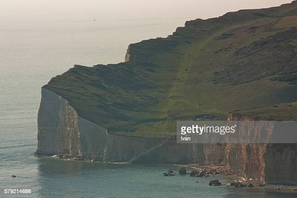 seven sisters east sussex, england - beachy head stock photos and pictures