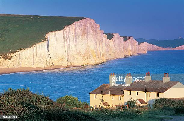 seven sisters, sussex, uk - seven sisters cliffs stock photos and pictures