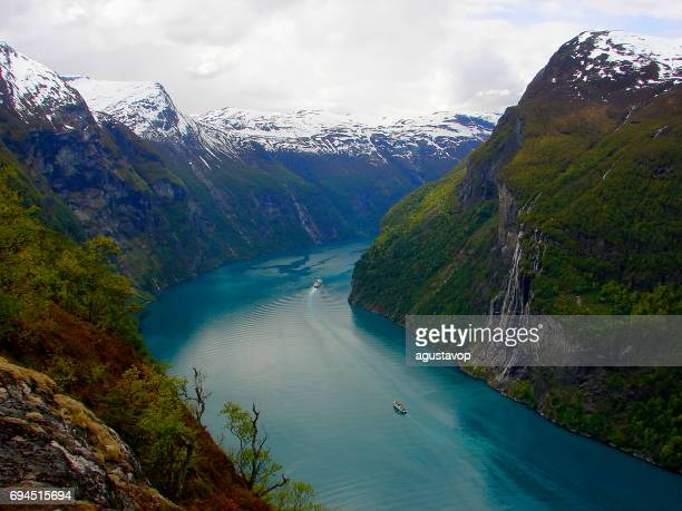 seven sisters waterfall from norway impressive geirangerfjord from above, norwegian dramatic landscape, scandinavia – nordic countries - hordaland county stock pictures, royalty-free photos & images