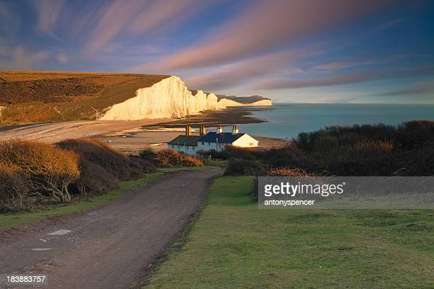 seven siters - seven sisters cliffs stock photos and pictures