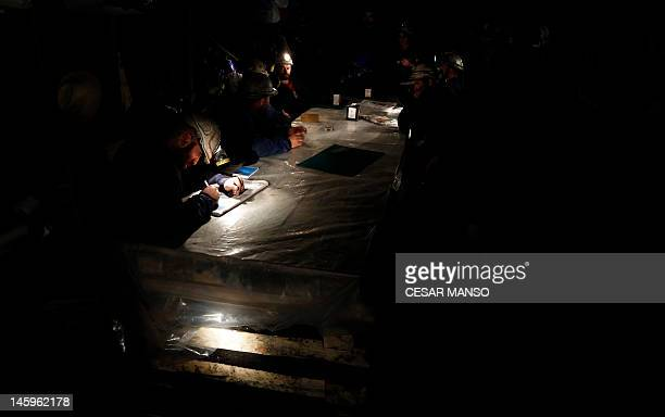 Seven Spanish coal miners spend their nineteenth day underground in the mine in Santa Cruz del Sil in the northern province of Leon on June 8 2012...