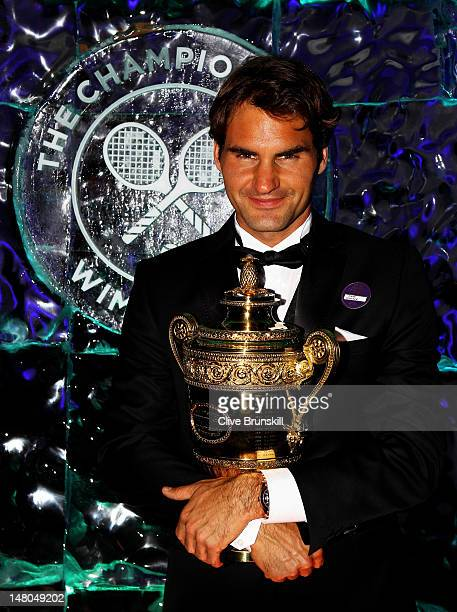 Seven time Wimbledon Men's Champion Roger Federer attends the Wimbledon Championships 2012 Winners Ball at the InterContinental Park Lane Hotel on...
