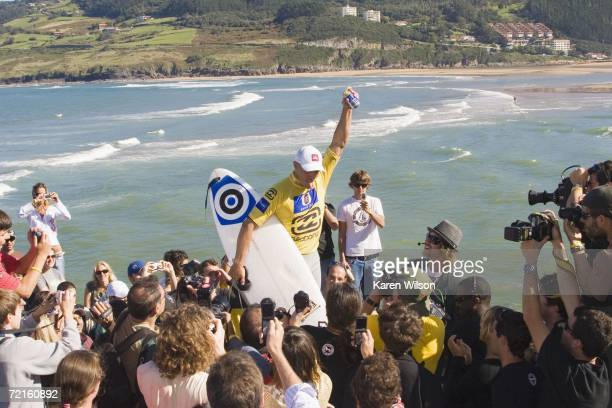seven times ASP world champion Kelly Slater from Cocoa Beach Florida USA clinched his record eighth world title at the Billabong Pro Mundaka on...
