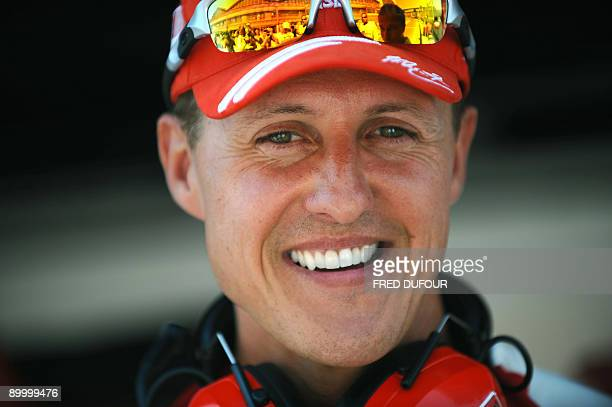 seven times drivers champion and Ferrari team advisor Michael Schumacher is pictured at the Valencia Street Circuit on August 22 2009 in Valencia...