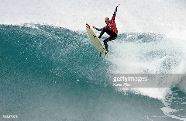 Seven times reigning ASP world champion Kelly Slater of the USA competes during the Rip Curl Pro on April 13 2006 at Bells Beach in Victoria Australia