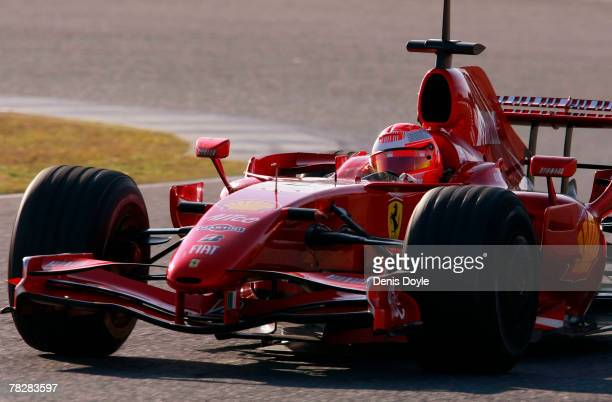 Seven times world champion Michael Schumacher of Germany takes a curve during Formula One Testing for Ferrari at the Circuito de Jerez on December 6...