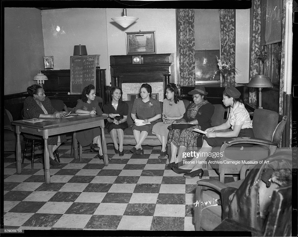 Seven Women Seated On Sofa And Chairs Including Wilhelmina Byrd Brown Fourth From Left