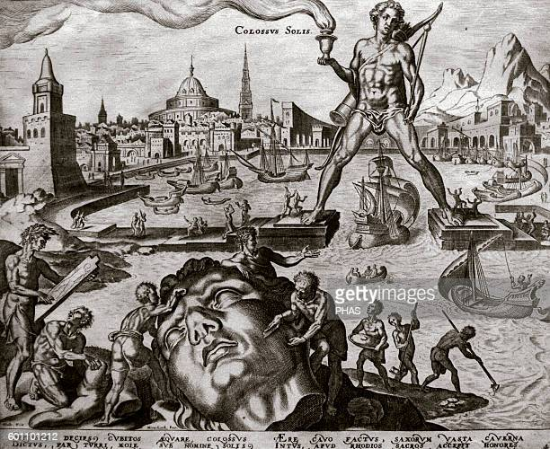 Seven Wonders of the Ancient World The Colossus of Rhodes Engraving by Philip Galle after Martin van Heemskerck 16th century The NelsonAtkins Museum...