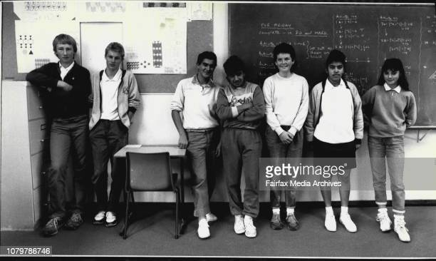 Seven Year 10 students at St Mary's High School and the green seat that none of them want to sit in Wayne Debruyn left Corey Davidson Mark Buhagiar...