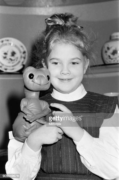 Seven year old child actress Drew Barrymore the young star of the film ET in the UK for the British premier of the film 9th December 1982