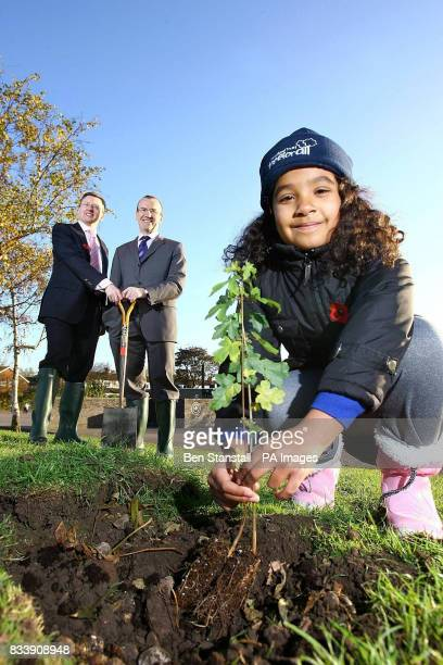 Seven year old Daniella Massri from Brookland Junior School in Cheshunt plants a sapling to create a new copse within the school grounds while Tim...