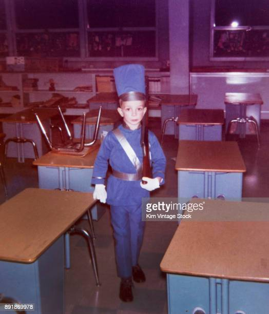 Boy dressed as toy soldier, ca. 1968.